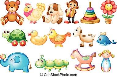 différent, ensemble, types, jouets