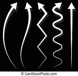 différent, ensemble, vertical, éléments, 5, flèche, long, ...