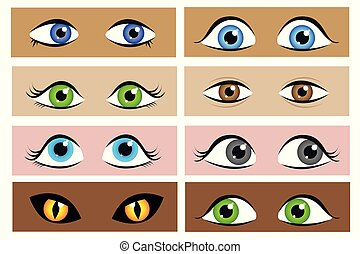 différent, ensemble, yeux, dessin animé