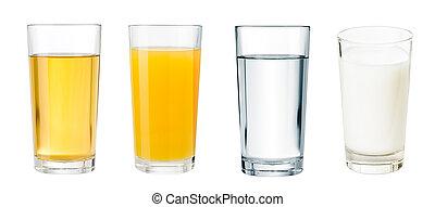 différent, entiers, boissons, isolé, ensemble, lunettes