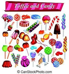 différent, entiers, coloré, bonbon, chocolat, collection, caramel