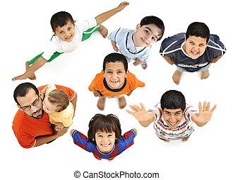 différent, entiers, frais, body., positif, père, isolé, bras, garçons, au-dessus, blanc, bébé, ils., enfants, angle, sourire heureux
