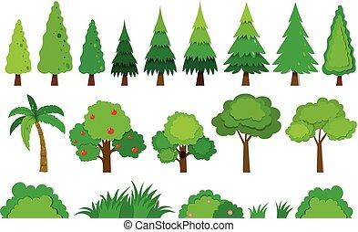 différent, espèce, arbres