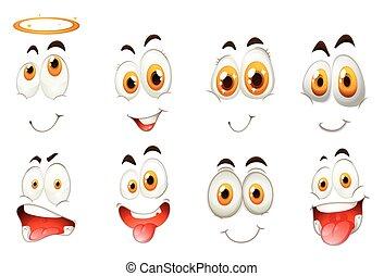 différent, espèce, expressions faciales
