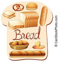 différent, espèce, pain