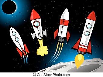 différent, espace, profond, suivant, fusées, lune, types