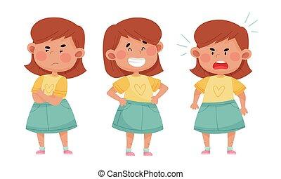 différent, fâché, figure, ensemble, expressions, aimer, ...