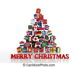 différent, fait, cadeau, everyone!, arbre, boîtes, drapeaux...