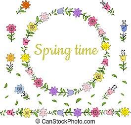 différent, fait, coloré, border., printemps, couronne, leaves., seamless, brush., horizontal, fleurs, interminable