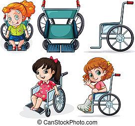 différent, fauteuils roulants