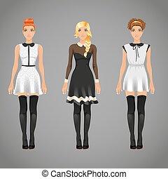 différent, femelles, dresse, vecteur, noir, joli, col blanc