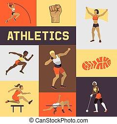 différent, femme, bannière, affiche, exercisme, club., courant, poses., vecteur, figures, femme, illustration., brochure, formation, jumping., sport, athlétisme, competition., femmes