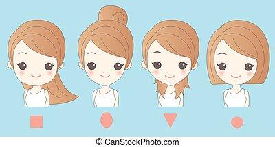 différent, femme, dessin animé, figure