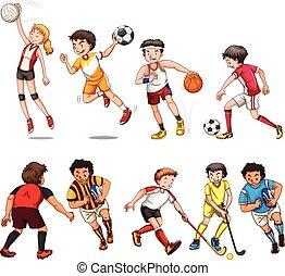 différent, femme, espèce, sport, jouer, homme