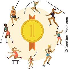 différent, femme, illustration., throwing., homme, exercisme, club., courant, javelot, vecteur, figures, poses., sauter, formation, athlétisme, sport, bannière, competition.
