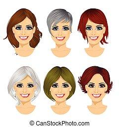 différent, femme, isolé, milieu, ensemble, avatar, coiffures, vieilli