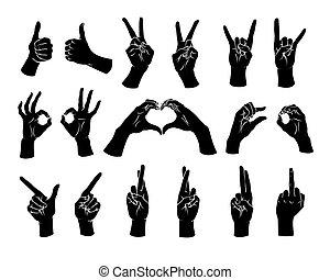 différent, femme, set., geste, vector., mains, projection, signs.