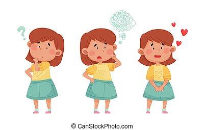 différent, figure, ensemble, expressions, vecteur, emoji, ...