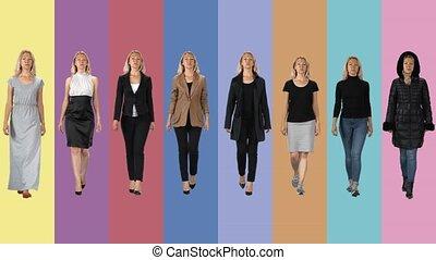 différent, filles, collage, go., beau, images