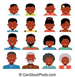 différent, flat., gens, gens., ethnique, icons., américain, ages., avatar, africaine, générations