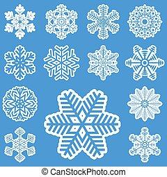 différent, flocons neige, collection, blanc
