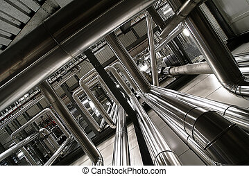 différent, formé, taille, puissance, canaux transmission, valves, plante