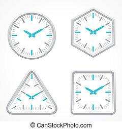 différent, forme, horloge