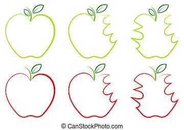 différent, forme, pomme