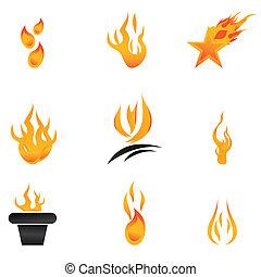 différent, formes, de, brûler