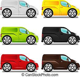différent, fourgon, grand, six, livraison, colors., dessin animé, roues
