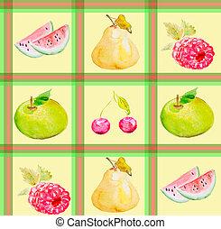 différent, fruit, texture