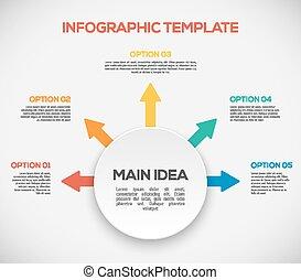 différent, gabarit, flèches, infographics., manière, infographics, circle., 3d