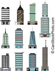 différent, genres, bâtiments, dessin animé