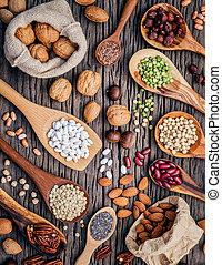 différent, genres, coquilles noix, spoons., légumineuses, ...