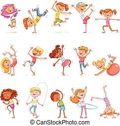 différent, genres, danse, engagé, sports., fitness., breakdance, enfants