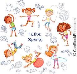 différent, genres, engagé, équipement sports, divers, fond, enfants