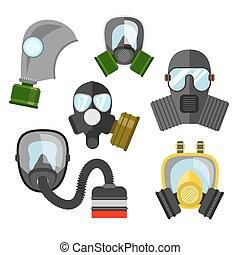 différent, genres, illustration., masque, set., filter., essence, respirateur, mask., military., pompiers