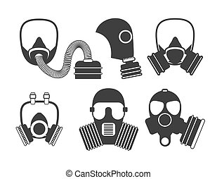 différent, genres, illustration., masque, set., filter., essence, respirateur, vecteur, military., mask., gasmask, pompiers