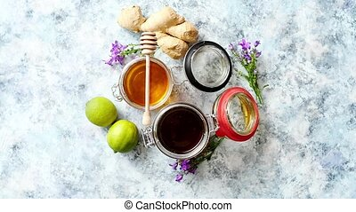 différent, genres, sain, gingembre, nourriture, miel, table, frais, chaux