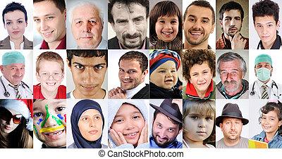 différent, gens, collage, âges, commun, cultures, expressions, lotissements