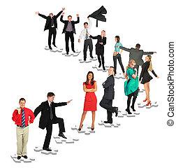 différent, gens, collage, positions, prendre, puzzles,...