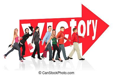 différent, gens, collage, signe, victoire, suivre