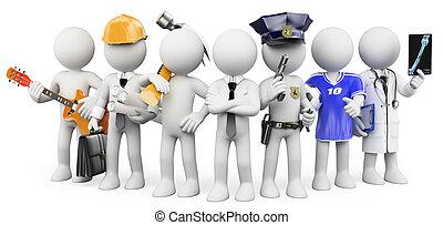 différent, gens fonctionnement, professions, blanc, gens., 3d