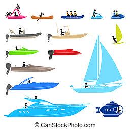 différent, gens, pictograms, bateau, représenter, types