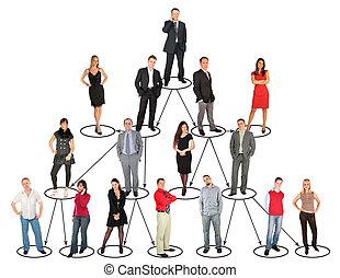 différent, gens, prendre, divers, positions, et, niveaux,...