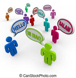 différent, gens, salutation, langues, international, bonjour