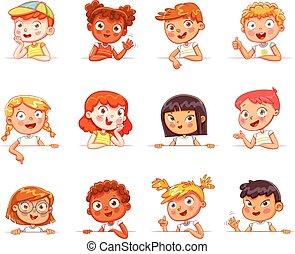 différent, gestes, divers, planche, tenue, nationalités, blanc, enfants, vide