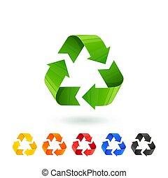 différent, gestion, séparation, déchets, icônes, resycle, set., recyclage, métal, verre, plastique, tri, papier, segregation., organic., recycler, gaspillage, concept., signs., coloré