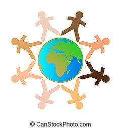 différent, globe, gens