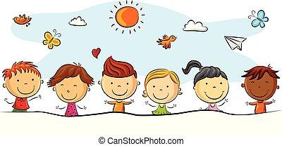différent, gosses, dessin animé, pose, heureux